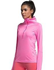 Al aire libre chaqueta para correr (secado rápido transpirable) elástico Yoga ropa chaqueta con cremallera para mujer, color 3, tamaño S
