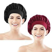 Vlek Bonnet Slaap Cap 2 Pack Grote Elastische Brede Band Hoed Nacht Slapen Hoofd Cover voor Meisjes Vrouwen