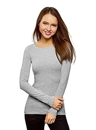 oodji Collection Femme T-Shirt en Coton à Manches Longues, Gris, FR 36 / XS