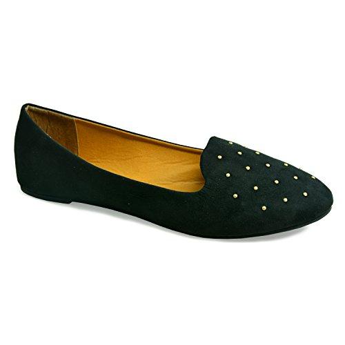 df8a695817ee4 New Ladies Women Black Ballerina Flats Patent Toe Cap Contrasting Ballet  Dolly Pumps Office Elegant Cut Slip On Casual Shoes Size UK 3 4 5 6 7 8 (UK  5, ...