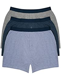M&Co Mens 100% Cotton Plain Blue and Grey Button Front Stretch Waistband Boxers Three Pack