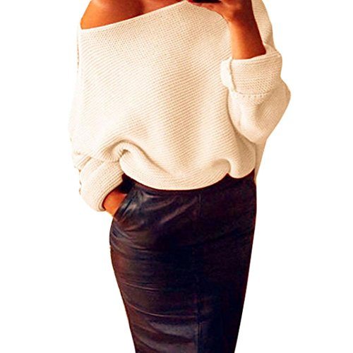 OverDose Damen Schulterfrei Strickstrick Maxi-Baggy Sweater Jumper Top Bluse (S, Beige) (Top Zip Quartal)