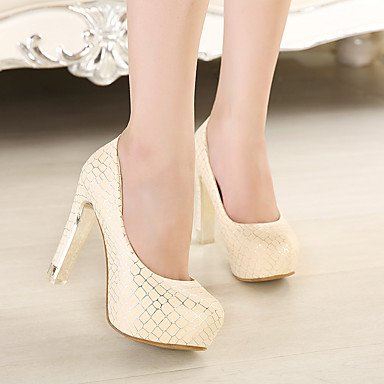 Moda Donna Sandali Sexy donna tacchi Primavera / Estate Autunno / Piattaforma / Comfort PU Office & Carriera / Party & sera abito / Stiletto Heel Slip-on Bianco / Mandorla White