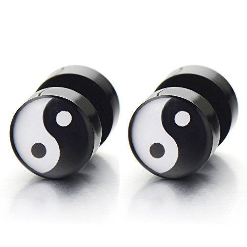 Yin-Yang Herren Ohrringe Ohrstecker Fakeplugs Fake Plug Tunnel Ohr-Piercing, 1 Paar