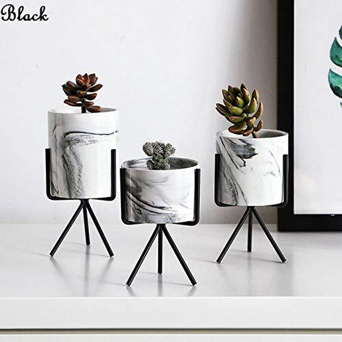 CTOBB Eisen Pflanze Vase Stand Pflanzgefäß Halter Marmor Keramik Blumentopf Regal Rack Garten, schwarz, groß