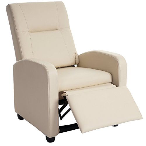 Mendler Fernsehsessel Denver Basic, Relaxsessel Relaxliege Sessel, Kunstleder ~ Creme