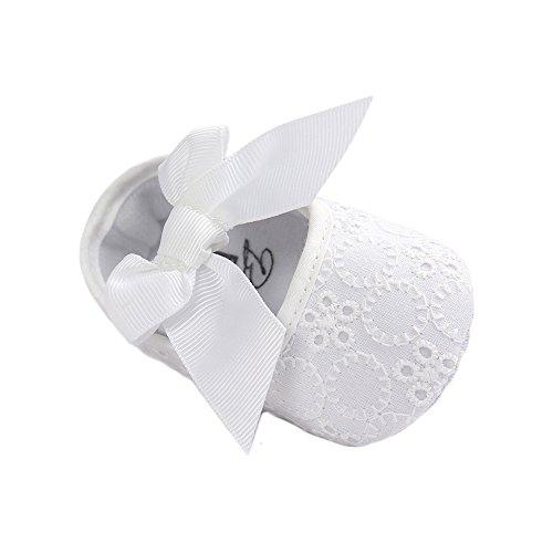 en Baumwolle Anti-Rutsch Weiche Sohle Weiße Taufschuhe 6-12 Monate (Kleinkind Weiße Ballett Schuhe)