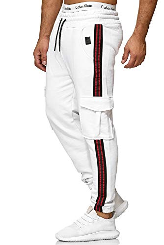 OneRedox Herren | Jogginghose | Trainingshose | Sport Fitness | Gym | Training | Slim Fit | Sweatpants Streifen | Jogging-Hose | Stripe Pants | Modell 1224 Weiss S