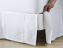 D. Kwitman & Son Box Pleat Detachable 14 Drop Bed Skirt, Queen, White