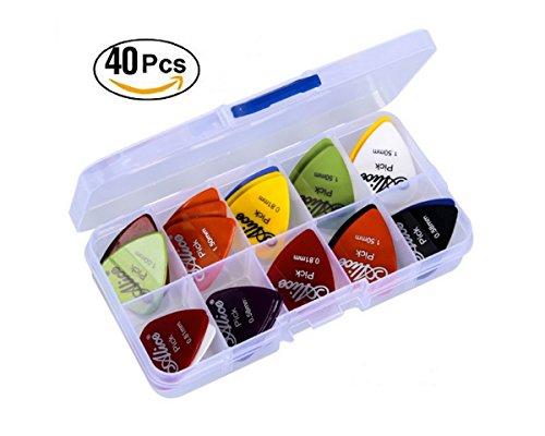 astropick-Caja de 40púas para guitarra eléctrica, acústica, bajo, o Folk-6capas),: 0.58/0.71/0.81/0.96/1.20y 1.50(mm)-para hombre y mujer-Pico, pestaña, Pick, Plectro