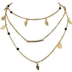 Tpocean Boho Gold Collar Layered y largo del ahogador, collar de la hoja de la aleación, estriado Chokers para las mujeres y las muchachas