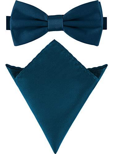 Uomo Gentleman Papillon Classico 6*12 cm /& Cravatta Stretta 6 cm /& Fazzoletto da Taschino 3 in 1 Set Tinta Unita