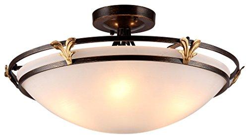 Rustikale runde Deckenleuchte, 5-flammig, braunes Metall, mattweißes Glas, exkl. E27 60W, 220V-240V - - Deckenleuchte Geschmiedet