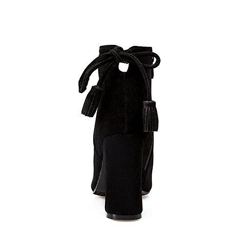 AllhqFashion Damen Spitz Zehe Blockabsatz Rein Mattglasbirne Stiefel mit Schleife Schwarz