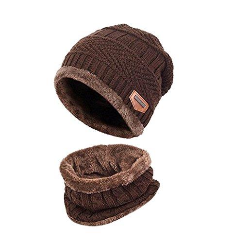 Winter Strickmütze, LCZ Herbst und Winter plus Samt Hut Herren Hut Schal zweiteilige Strick Ohrenschützer Hut Skull Cap,Schal mit Fleecefutter (Braun)