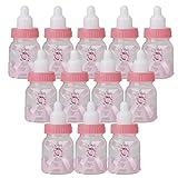 XSM Baby Shower Bottle Babyflasche Candy Flasche Geschenk Box Tasche für Gefälligkeiten Süßigkeiten Konfetti Geschenke Schmuck für Kinder Baby Mädchen Geburtstag Heilige Kommunion Party (Rosa)