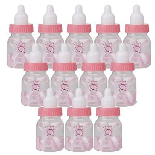 Bottle Babyflasche Candy Flasche Geschenk Box Tasche für Gefälligkeiten Süßigkeiten Konfetti Geschenke Schmuck für Kinder Baby Mädchen Geburtstag Heilige Kommunion Party (Rosa) ()