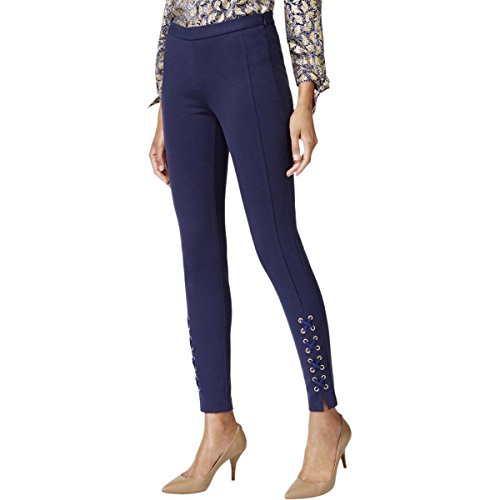 MICHAEL Michael Kors Womens Lace Up Skinny Skinny Pants Navy 2