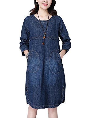Damen Sommer Jeanskleid Beiläufige Rundhals Langarm Lose Knielang A-Linie Denim Abendkleid Minikleid Hemdkleid Partykleid Blusenkleid (Besten T-shirt Freund Adult)