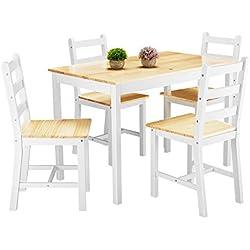 Anaelle Panana Ensemble Table en Bois + 4 Chaises pour Salle à Manger, Cuisine, Séjour, Café (Blanc+Bois)