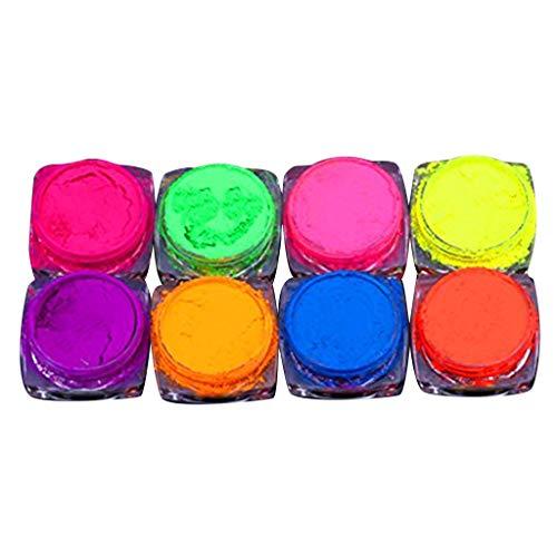 Masrin Neonpigment Nail Art Powder 8 Boxen Neon Color Nail Powder Farbverlauf Acryl Pastell Nail Art Dekorieren Glitter Gradient Glitter Schillerndes Acryl