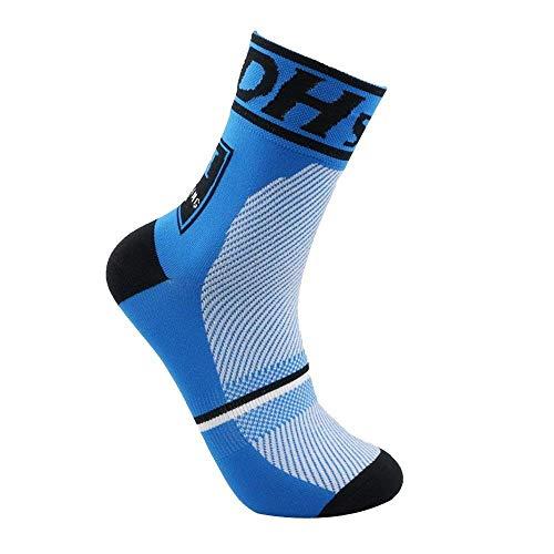 Wiwi.f Calcetines de ciclismo unisex, calcetines deportivos de carreras transpirables para el verano, entrenamiento antideslizante de montaña para practicar senderismo al aire libre (blue)