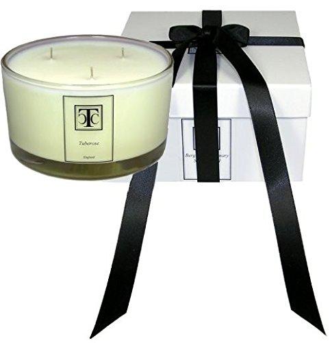 candle company Tuberose Duft Kerze 3Docht Glasschale 80Stunde, Wachs, weiß, 12,5x 12,5x 7cm (Tuberose-wachs)