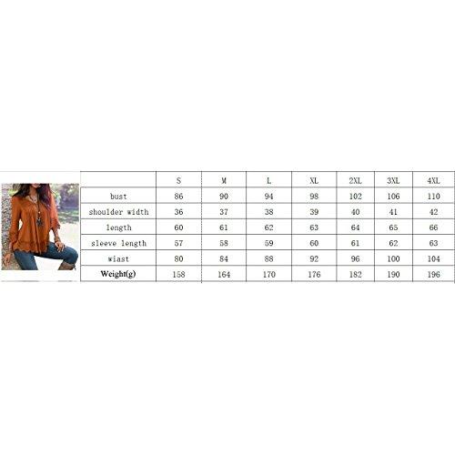 Hibote Chemise manches longues Femme Blouses Femmes Blouses Patchwork Casual T-shirt Dentelle Coton Top Solide Lâche Tops Travail Casual Orange