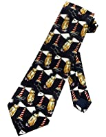 Steven Harris Mens Lighthouse Tall Ships Necktie - Black - One Size Neck Tie