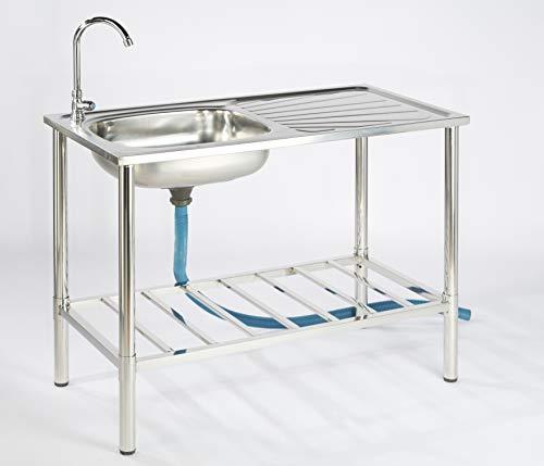 Lavello in acciaio inox cucina da campeggio attacco per tubo Mobile lavabo lavello