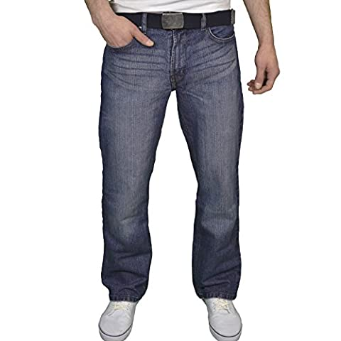 FB Jeans Mens Designer Regular Fit Boot Cut Jeans (32W