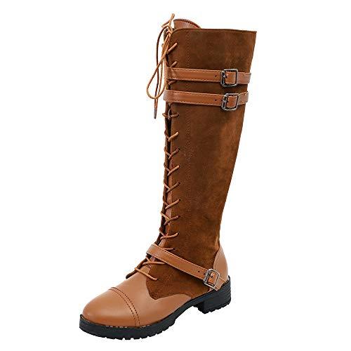 Sunnyuk Damen Leder Lange Röhre Ritter Stiefel römischen Stil einfarbig klassischen Cowboy Stiefel Block Ferse Reißverschluss Rutschfeste Größe 35-43