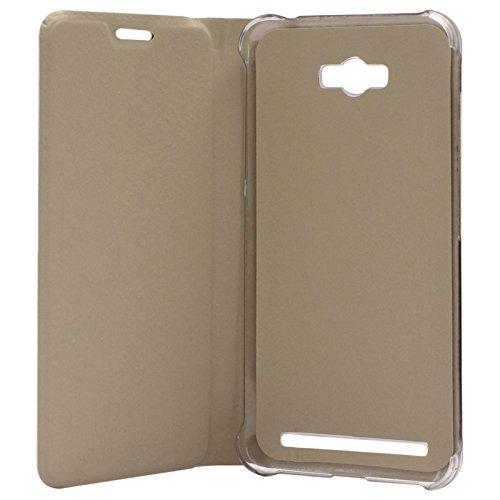 DMG Premium PU Leather Flip Cover Case for Asus Zenfone Max (Gold)