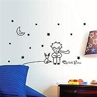 ZARU Pared Pegatina Estrellas Luna El pequeño príncipe muchacho Decoración para el hogar Navidad (Negro)