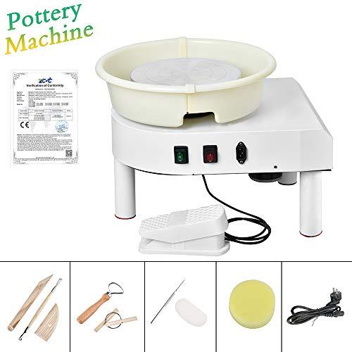 S SMAUTOP Töpferscheibe 25CM Töpferschneidmaschine 350W Elektrische Töpferscheibe mit Fußpedal und abnehmbarem Becken Einfache Reinigung für Keramik Clay Art Craft (Weiß)