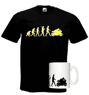 Motorbike Evolution Mug and Standard Black T-Shirt
