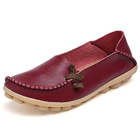 Fisca Leather Women's Moccasins Loafer Flat Shoes Wine Red UK 5