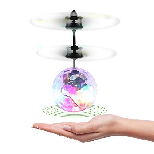 Dilwe Palla Volante Giocattolo, Mini Sfera Sospesa Luminosa a LED Colorata Lampeggiante Volante Giocattolo di Aerei Telecomandato