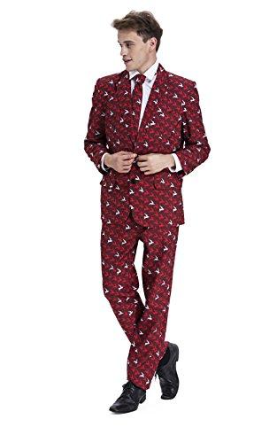 Modisch Herren Party Anzug Weihnachten Kostüme Party Suits Festliche Anzüge in Normalem Schnitt mit lustigen Mustern von YOU LOOK UGLY TODAY