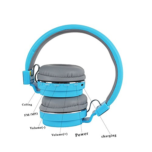 SH-12 wireless headphones stretchable foldable with Bluetooth and inbuilt microphone and SD card slot(Blue) Image 2