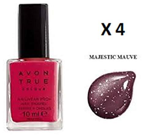 4Stück Avon True Farbe Nailwear Pro + Nagel Emaille-Majestic Pflaume x 10ml -