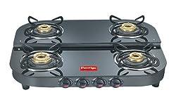 Prestige Royal Plus Glass Top Table DGT Duplex L.P. Gas 4 Burners Stoves (Black)