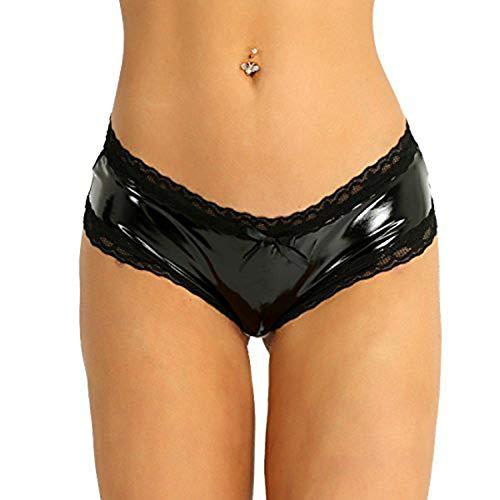 iEFiEL Wetlook Damen Hotpants Ouvert-Slip mit Spitze Rüsche Leder Lack Shorts Strings Erotik Dessous Unterwäsche S-XL Schwarz XL