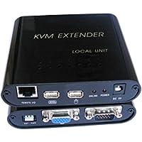 Tolako KVM Extender su singolo cavo CAT-5E CAT-6 cavo Ethernet, fino a 100m - USB VGA Extender CAT5/5e/6 - 1 locale e 1 telecomando - Supporta Windows, Linux, Mac
