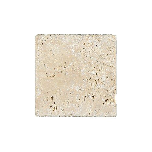 Natursteinfliesen Travertin Barga Beige 10x10cm | Wandverkleidung Mosaikstein Bad Badfliesen Badezimmer Küchenspiegel