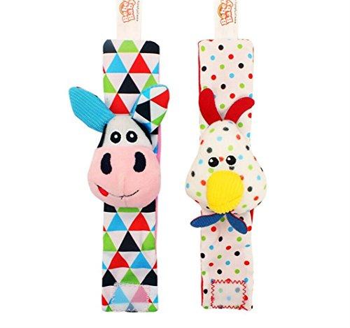 Instruments Baby Geschenk-Spielzeug für Babys, Tier-Uhren, Stoff-Rassel, Spielzeug für Kinder, Plüschstoff, Handgelenk-Rassel (Kuh + Huhn mit Karton) -