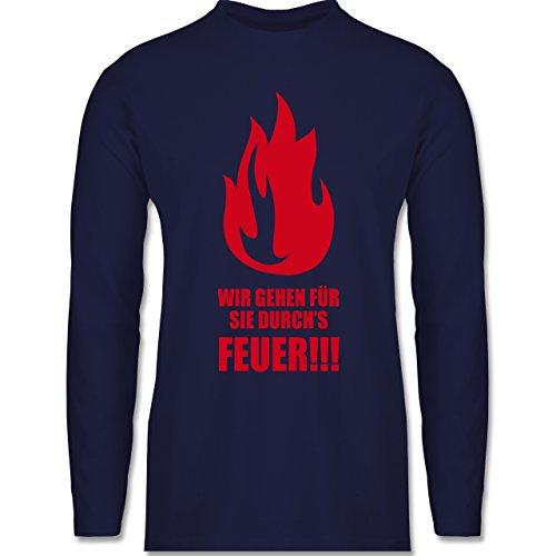 Feuerwehr - Wir gehen für Sie durchs Feuer - Longsleeve / langärmeliges T-Shirt für Herren Navy Blau