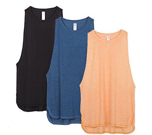 icyzone Sport Tank Top Damen Locker - Yoga Fitness Shirt Racerback Oberteile atmungsaktive (Black/Denim/Pumpkin, M)