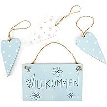 30/mm wei/ß W/äscheklammer mit 17/mm hellblau Holz Herz Craft f/ür Shabby Chic Vintage Hochzeit blau