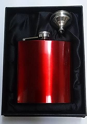Personalised 6oz Red Stainless Steel Hip Flask & Funnel Gift Set - FREE ENGRAVING